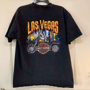 Vintage Black Harley T Shirt Las Vegas Casinos L